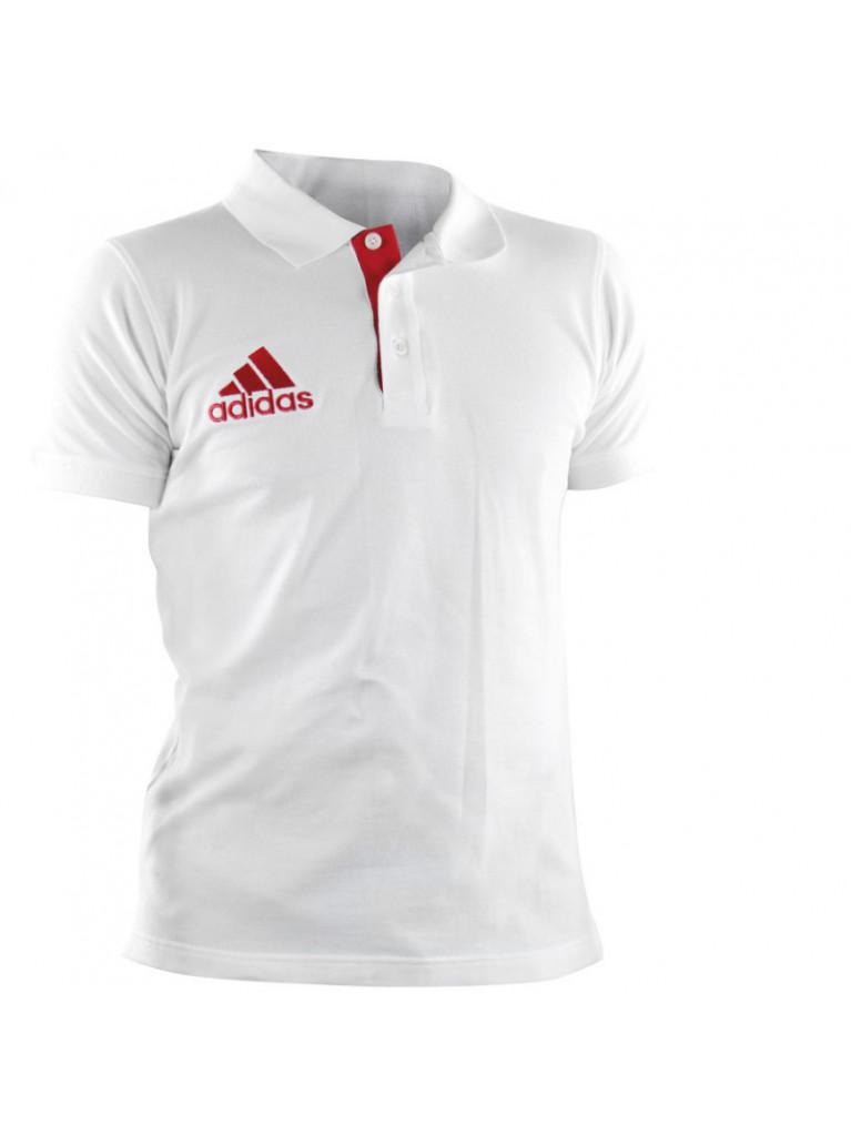3816c2a2c773 T-shirt Adidas Pique POLO White Red - adiTS332