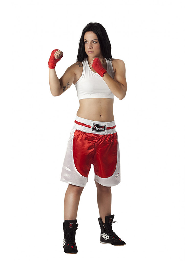 Boxing Shorts Olympus - Standard Silk Red / White