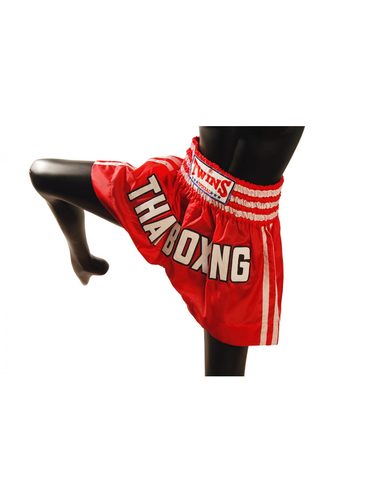 Shorts Twins - THAI BOXING Red/White Stripes