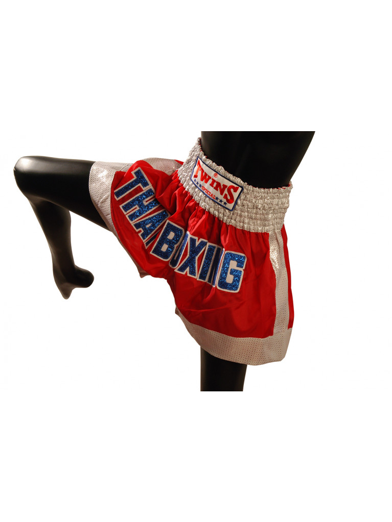 Shorts Twins - THAI BOXING Silver/Red