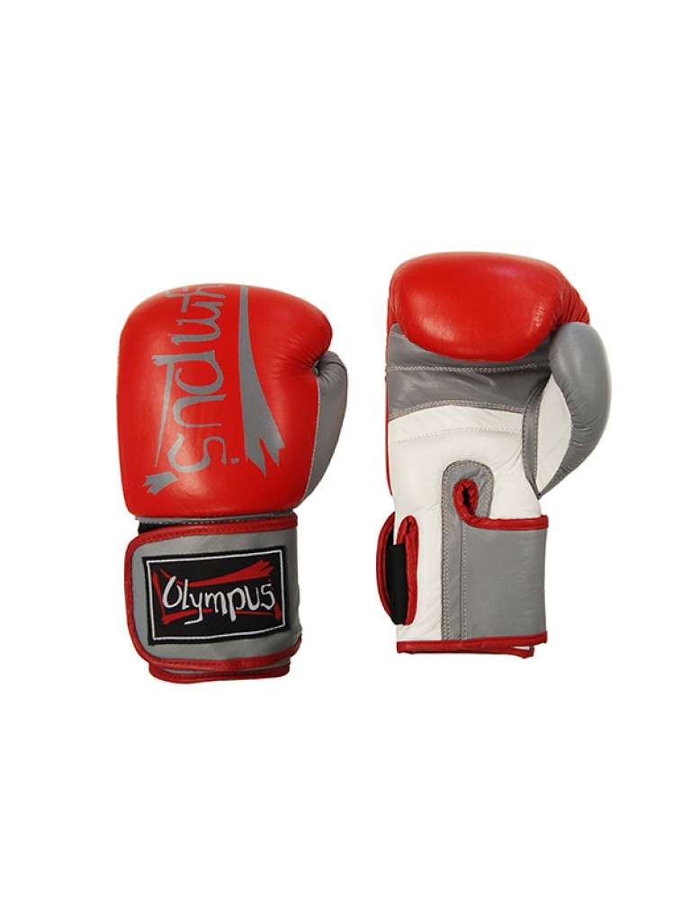Boxing Gloves Olympus - Leather ELITE Red/White/Grey