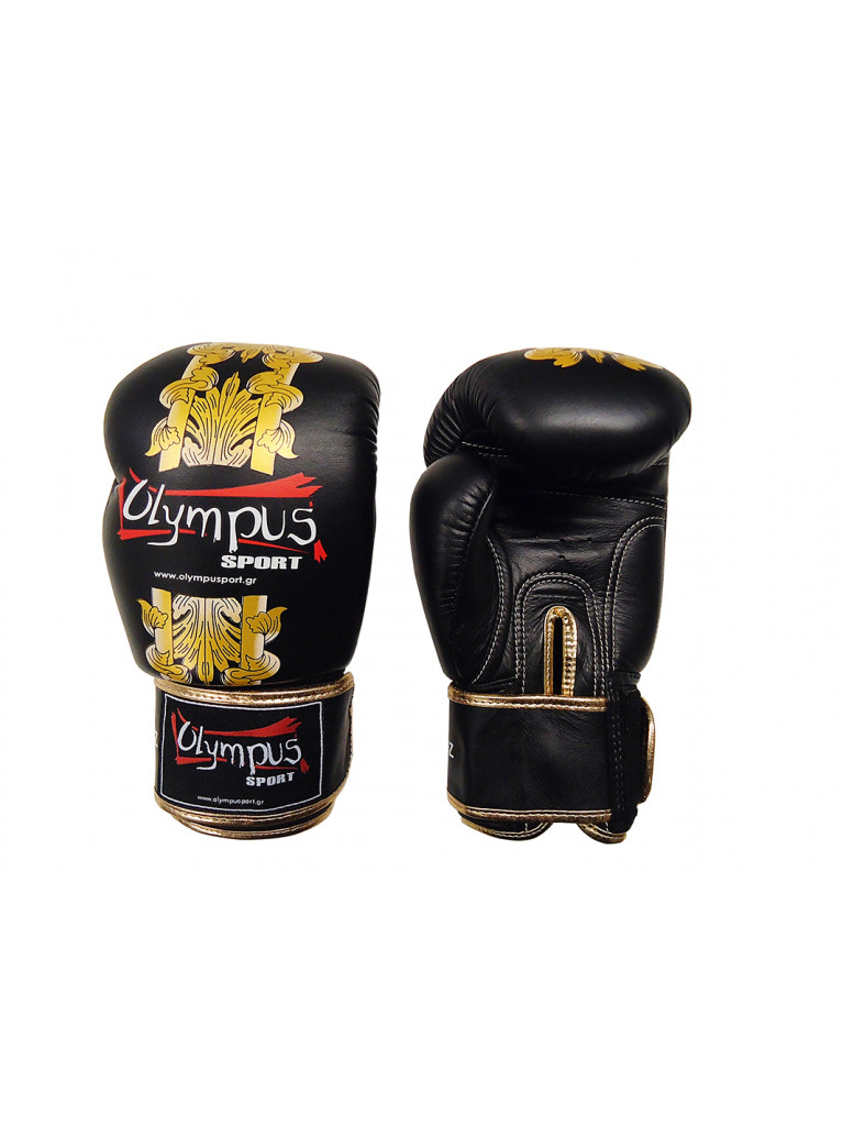 Boxing Gloves Olympus by RAJA Genuine Leather HELLAS - Black / Gold