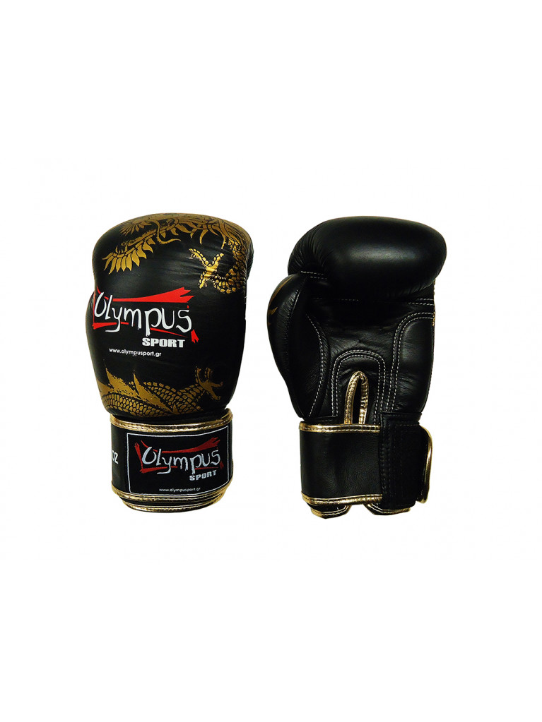 Boxing Gloves Olympus by RAJA Genuine Leather DRAGON- Black / Gold