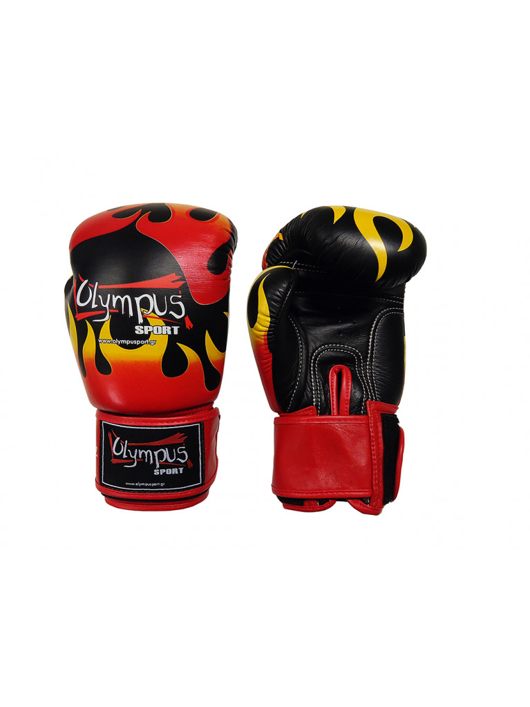 Boxing Gloves Olympus by RAJA Genuine Leather FLAME - Black