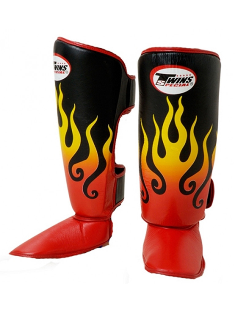 Shin Instep Guard Twins Leather - RED FLAME