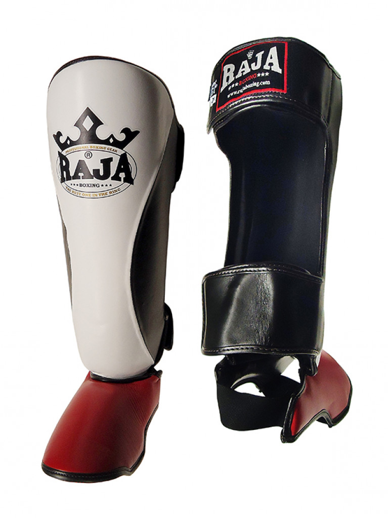 Shin Instep Guard Raja Leather THREE COLOR - White / Red / Black