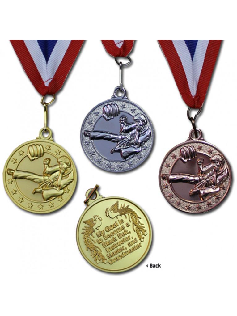 Award Medal - Flying Kick (Gold, Silver, Bronze)