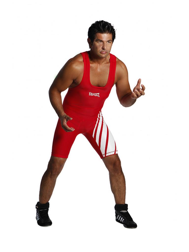 Wrestling Suit Olympus Lycra Spandex White Stripes