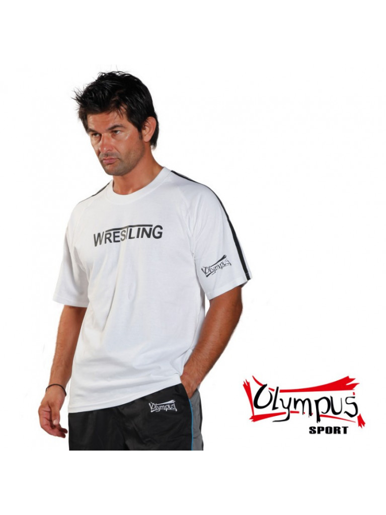 T-shirt Olympus Half Sleeves White 2 Stripes Wrestling Stamp