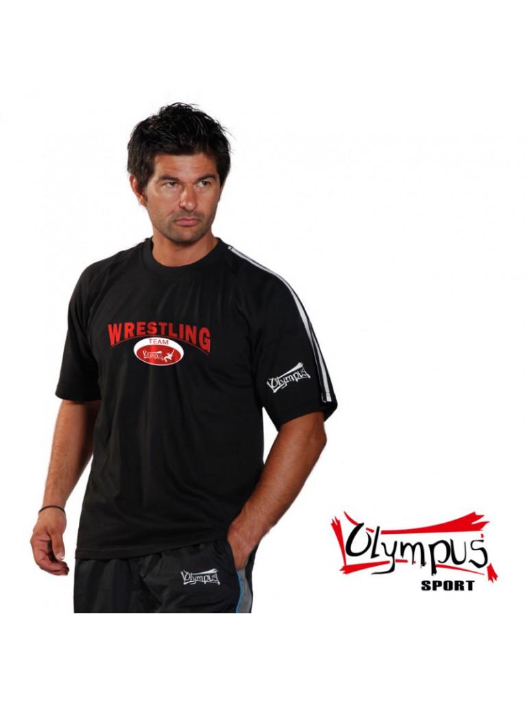 T-shirt Olympus Half Sleeves Black 2 Stripes WRESTLING Stamp