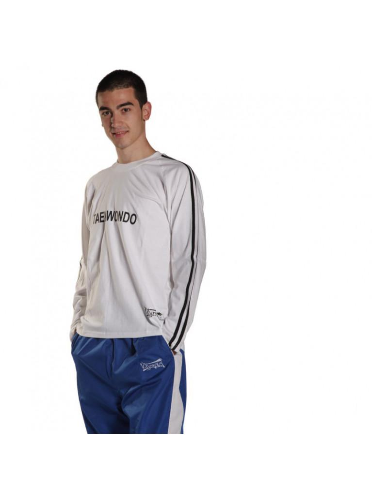 T-shirt Olympus Full Sleeves White 2 Stripes TKD Stamp