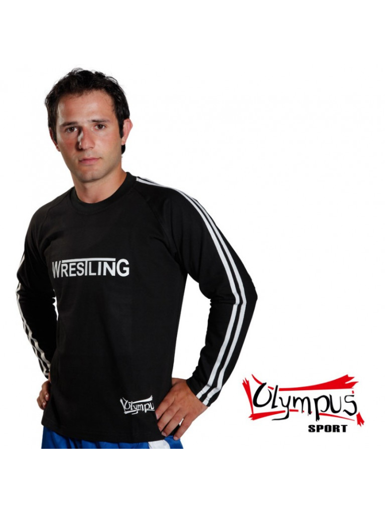 T-shirt Olympus Full Sleeves Black 2 Stripes WRESTLING Stamp