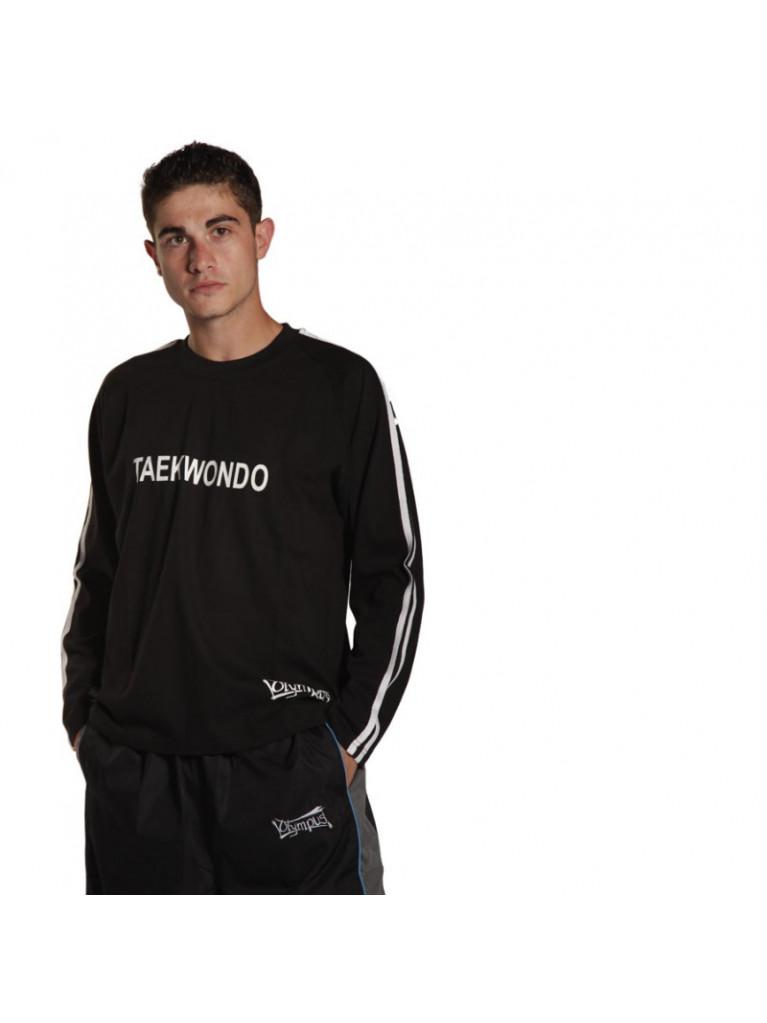 T-shirt Olympus Full Sleeves Black 2 Stripes TKD Stamp