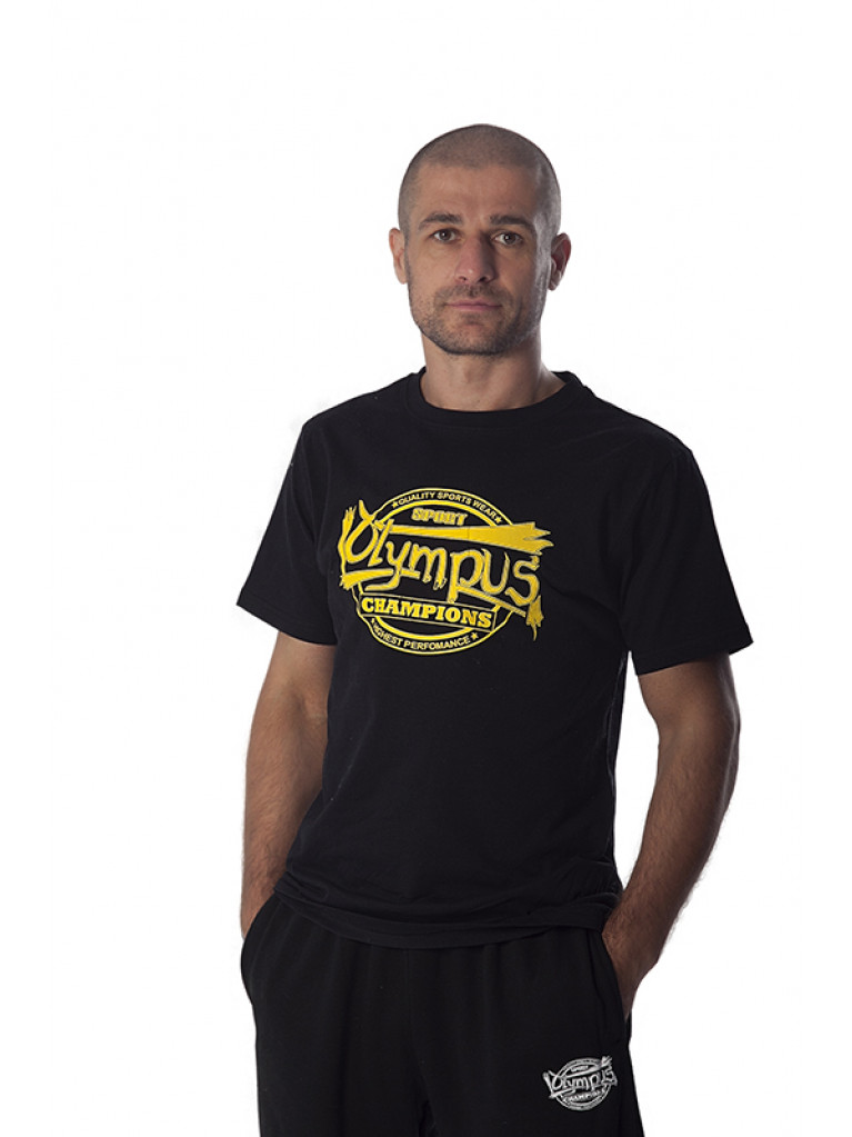 T-shirt Olympus Champions Cotton Black / Yellow