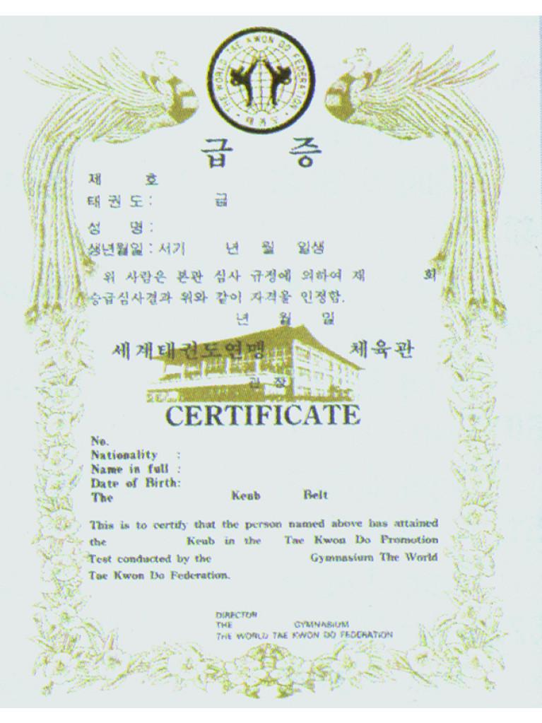 Certificate Kukkiwon